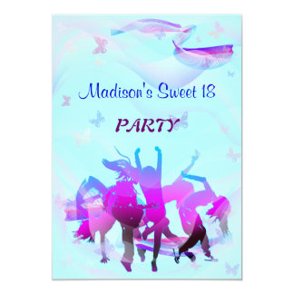 Soirée dansante d'anniversaire carton d'invitation  12,7 cm x 17,78 cm