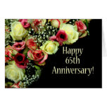 Soixante-cinquième roses heureux d'anniversaire carte de vœux