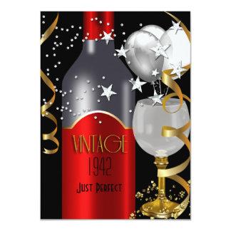 Soixante-dixième argent d'or de noir de vin rouge faire-part personnalisables