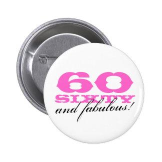 soixantième bouton d'anniversaire pour des femmes  macaron rond 5 cm