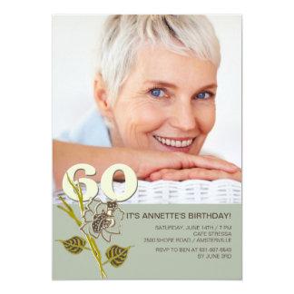 soixantième Invitation de photo d'anniversaire Carton D'invitation 12,7 Cm X 17,78 Cm