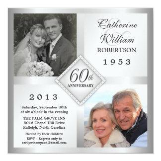 soixantième Invitations argentées de photo Carton D'invitation 13,33 Cm