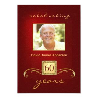 soixantième Monogramme rouge d'or d'invitations de Carton D'invitation 12,7 Cm X 17,78 Cm