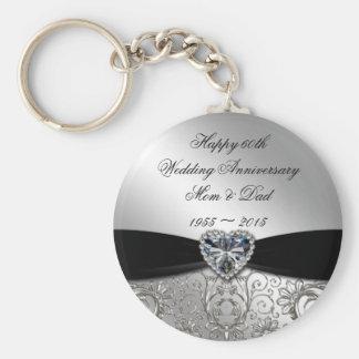 soixantième Porte - clé d'anniversaire de mariage Porte-clé Rond