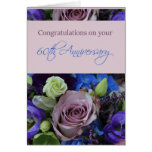 Soixantième roses heureux d'anniversaire carte de vœux