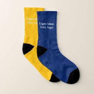 Sokken uni Blauw (buiten) en Geel (binnen) Socks