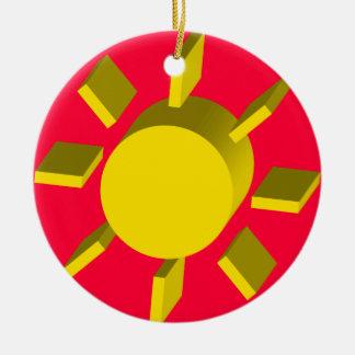Sol Caribeño/Caribbean Sun Round Ceramic Ornament
