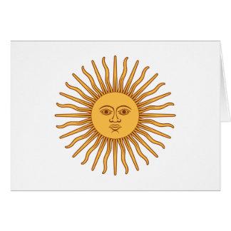 Sol de Mayo Sun of May - Gold Sun Face Symbol Card
