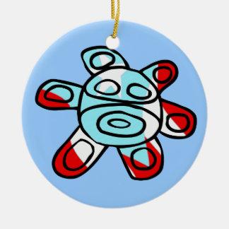 Sol Taíno Round Ceramic Ornament