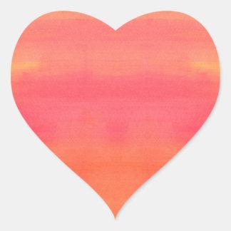 Sol-Yellow and orange ombre watercolor art Heart Sticker