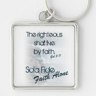 Sola Fide/ Faith Alone Silver-Colored Square Keychain