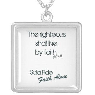 Sola Fide/ Faith Alone Square Pendant Necklace