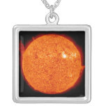 Solar activity on the Sun Silver Plated Necklace
