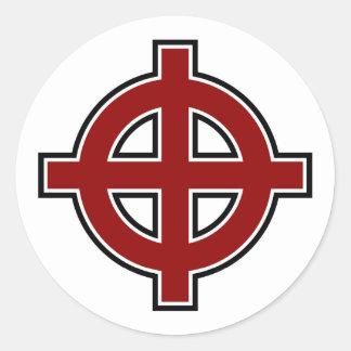 Solar Cross (red, white & black) Round Sticker