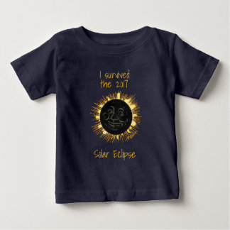 Solar Eclipse 2017 Man in the Moon and Sun. Baby T-Shirt