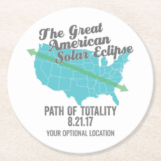 Solar Eclipse 2017 Path of Totality United States Round Paper Coaster