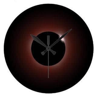 Solar Eclipse Dark Sun & Moon Large Clock