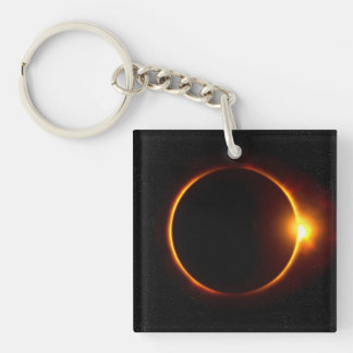 Solar Eclipse Dark Sun & Moon Single-Sided Square Acrylic Keychain