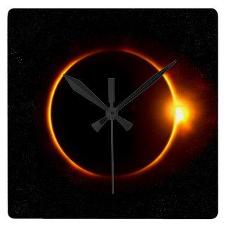 Solar Eclipse Dark Sun & Moon Wall Clock