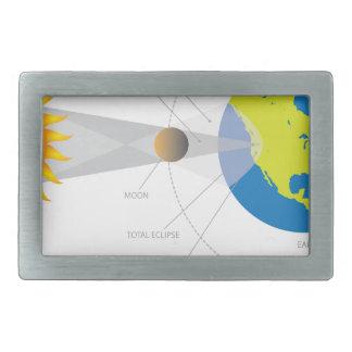 Solar Eclipse Geometry Illustration Rectangular Belt Buckle
