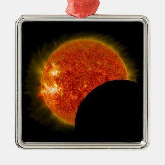 Solar Eclipse in Progress Metal Ornament