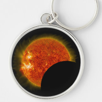 Solar Eclipse in Progress Silver-Colored Round Keychain