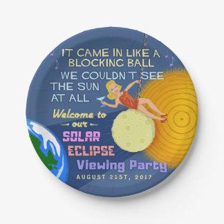 Solar Eclipse Party Funny Retro Sun Viewing 2017 Paper Plate