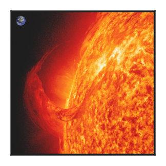 Solar Flare Sun & Earth Astronomy Photo Canvas