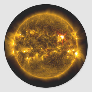 Solar Flares on the Sun Outer Space Classic Round Sticker