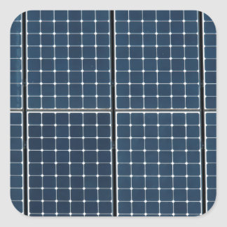 Solar panelling on a house. square sticker