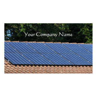 Solar panels on a house roof business card
