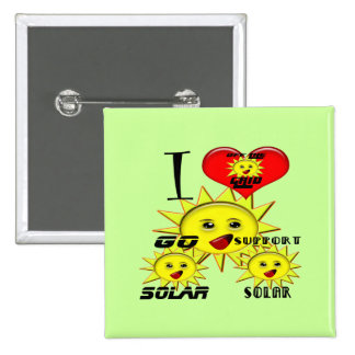 Solar Power Gifts and Promotional Products T-shirt 2 Inch Square Button