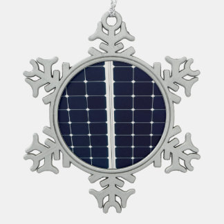Solar power panel pewter snowflake ornament