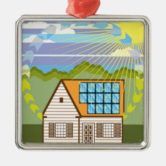 Solar Renewable Energy Eco Efficient Silver-Colored Square Ornament
