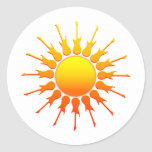 Solar Rock, Sun With Guitar Rays With Shading Round Sticker