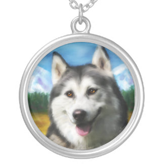Solar - Siberian Husky Dog Art Necklace