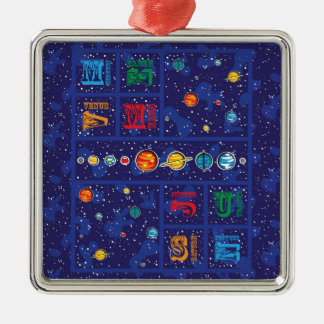Solar System ABCs Silver-Colored Square Ornament