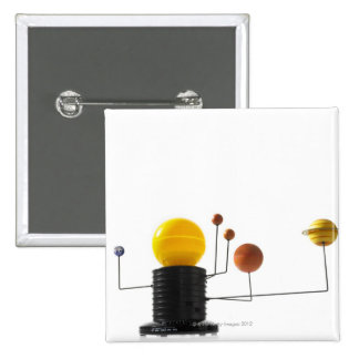 Solar system model on white background 2 inch square button