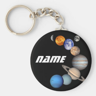 Solar System Montage JPL Photos - Customize Name Basic Round Button Keychain