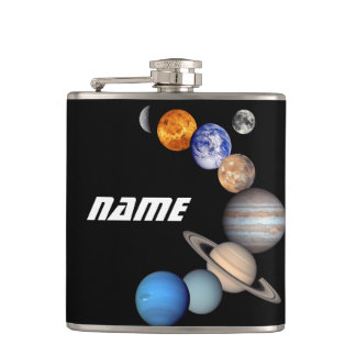 Solar System Montage JPL Photos - Customize Name Hip Flask