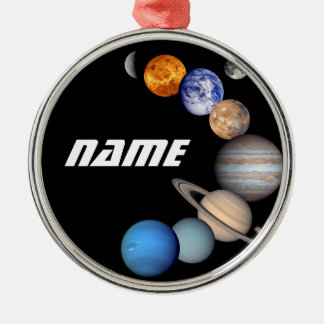 Solar System Montage JPL Photos - Customize Name Metal Ornament