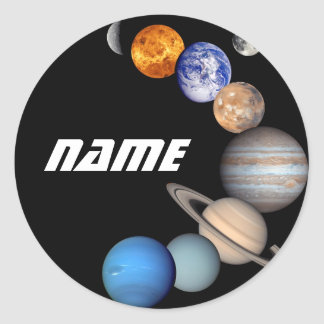 Solar System Montage JPL Photos - Customize Name Round Sticker