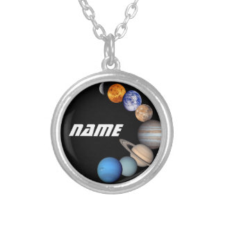 Solar System Montage JPL Photos - Customize Name Silver Plated Necklace