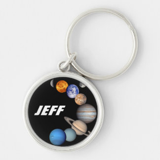 Solar System Montage JPL Planet Photos - Add Name Silver-Colored Round Keychain
