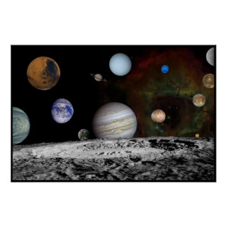 Solar System Montage of Voyager Images 54x36 Poster