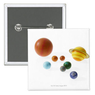 Solar system planets on white background 2 inch square button