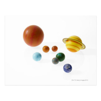 Solar system planets on white background postcard