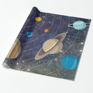 Solar System, Space and Stars Wrapping Paper