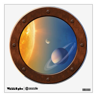 Solar System Space Collage Steampunk Porthole View Wall Sticker