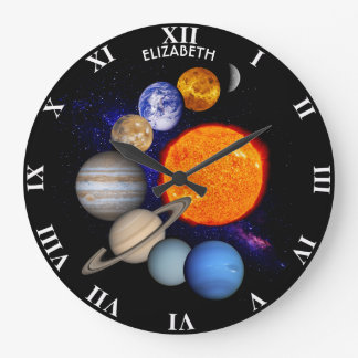 Solar System Sun Planets Milky Way Galaxy Science Large Clock